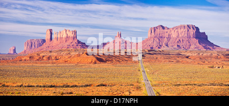Iconic image of the road to monument Valley Navajo Tribal Park, Arizona, USA United states of america - Stock Photo
