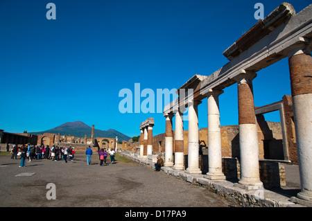 Foro the Forum in Pompeii the Roman city buried in lava near Naples in La Campania region southern Italy Europe - Stock Photo