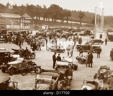 Brooklands Racing Circuit - The Paddock possibly 1930s - Stock Photo