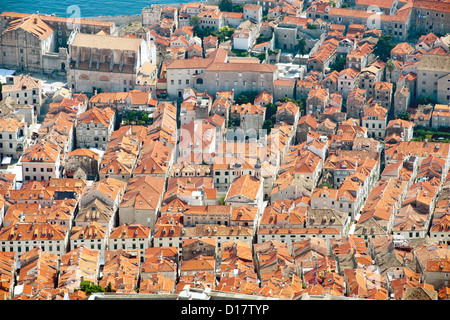 View of rooftops in the old town in the city of Dubrovnik on the Adriatic coast of Croatia. - Stock Photo