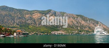Panoramic view of Kotor Bay in Montenegro. - Stock Photo