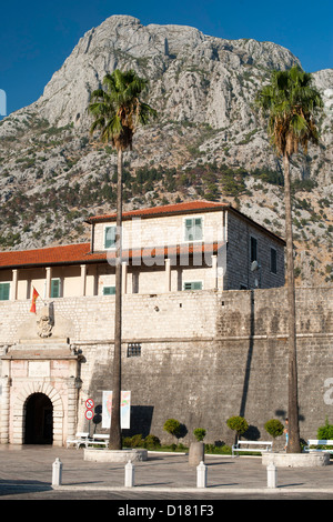 The West / Sea Gate entrance to the Kotor old town in Montenegro. - Stock Photo