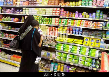 Dubai UAE United Arab Emirates U.A.E. Middle East Al Qusais LuLu Hyper Market shopping grocery store supermarket - Stock Photo