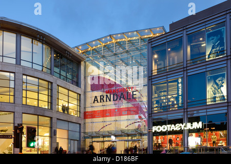 Entrance to The Manchester Arndale Centre - Stock Photo