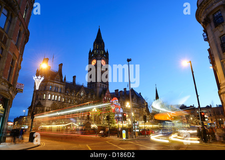 Manchester Town Hall and the Christmas Markets - Stock Photo
