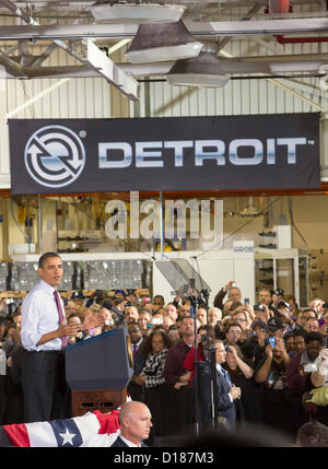 Redford, Michigan - President Barack Obama speaks on the economy to members of the United Auto Workers at the Detroit - Stock Photo