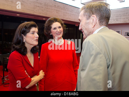 LBJ President daughters with Former U.S. Attorney General, lawyer and activist Ramsey Clark - Stock Photo