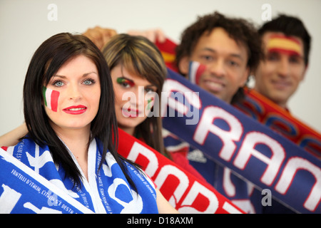 European football fans - Stock Photo