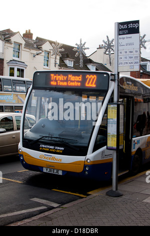 A Stagecoach Service Bus Stops At A Bus Stop In The Middle