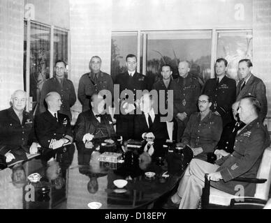 Allied Nations War Strategy Conference in Casablanca, French Morocco, Jan. 31, 1943. L-R, Seated: Lt. Gen. Hap Arnold; - Stock Photo