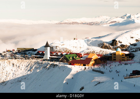 Aerial view of snowy mountain town - Stock Photo