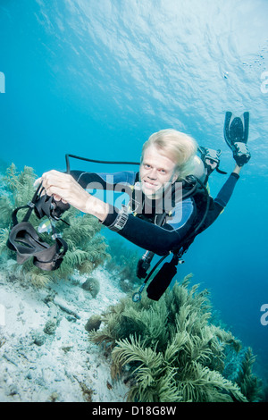 Diver swimming without mask - Stock Photo