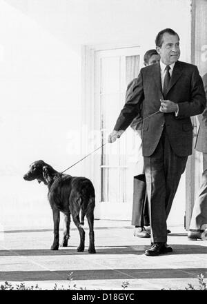 Richard Nixon with his six month old Irish Setter, King Timahoe. The dog was a gift from his staff, and was named - Stock Photo