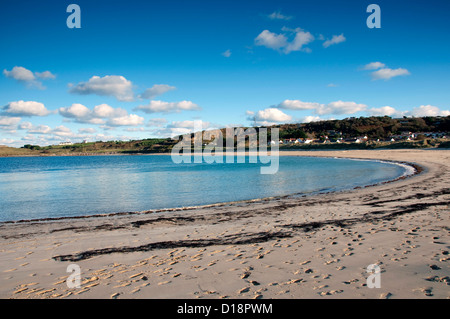 View over Braye Bay on Alderney, Channel Islands - Stock Photo