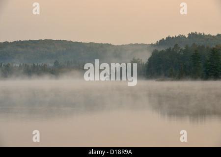 Morning mists at dawn on Ruth Lake, Three Lakes, Michigan, USA - Stock Photo
