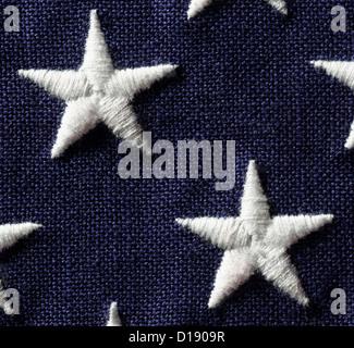 Close up of stars on US flag - Stock Photo