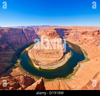 Horseshoe bend on the colorado river at Page Arizona USA  United States of America - Stock Photo