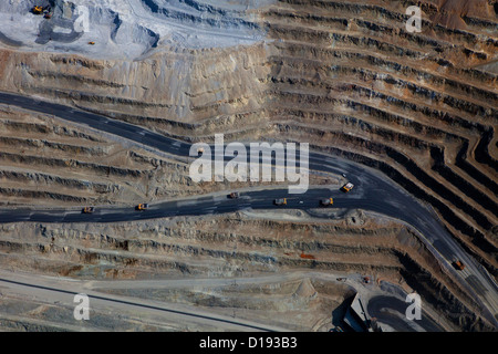 aerial photograph Bingham Canyon Open Pit Copper Mine, Utah - Stock Photo