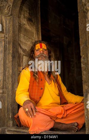 Sadhu, holy man, Pashupatinath, Kathmandu, Nepal - Stock Photo