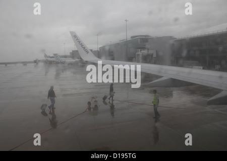 Ryanair plane on tarmac at Manchester Airport, england, great britain, uk - Stock Photo