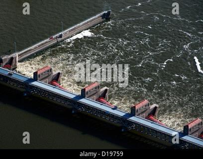 aerial photograph Lock and Dam No. 15, Mississippi River, Davenport, Iowa, Rock Island, Illinois - Stock Photo