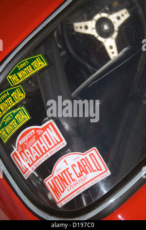 Denmark · a collection of stickers on the rear window of a classic car stock photo