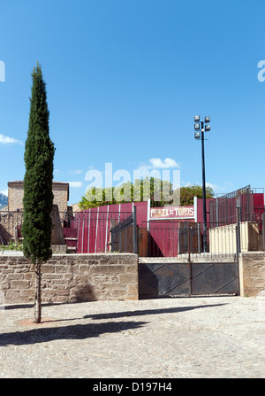 The Plaza de Toros bullfighting ring in Laguardia in the Basque Country Spain - Stock Photo