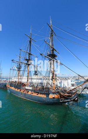 Frigate HMS Surprise sailng ship at the Maritime museum of San Diego, California, USA. - Stock Photo