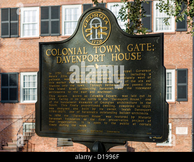Plaque in front of the historic Isiah Davenport House on East State Street, Columbia Square, Savannah, Georgia, - Stock Photo