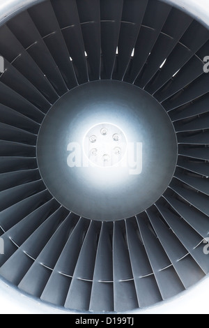 The turbine of a jet engine on a small passenger airplane - Stock Photo