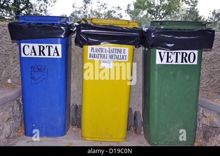 Recycling bins on CApri Island Italy - Stock Photo