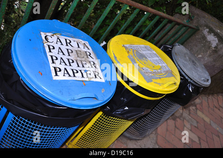 Recycling bins Italy Europe - Stock Photo