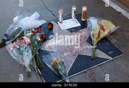 Tributes left to singer Jenni Rivera on her star on the Las Vegas Walk of Stars, Las Vegas Blvd, Las Vegas,  Nevada, - Stock Photo