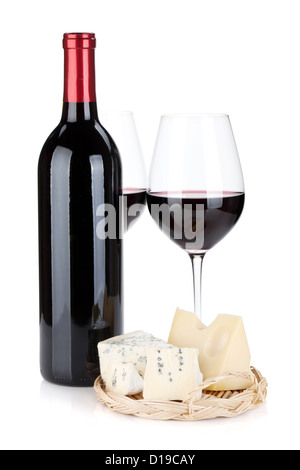 Various types of cheeses and red wine. Isolated on white background - Stock Photo