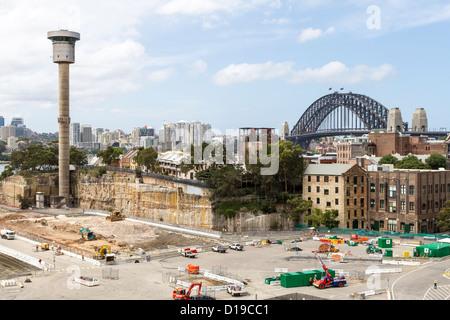 Cruise ship terminal under construction in Barangaroo Sydney - Stock Photo