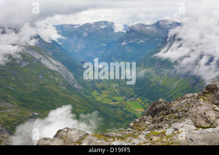 View from Dalsnibba mountain viewpoint, near Geiranger, More og Romsdal, Norway - Stock Photo