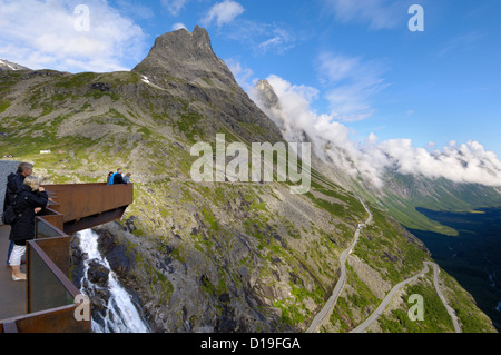 View from Trollstigen viewpoint, More og Romsdal, Norway - Stock Photo
