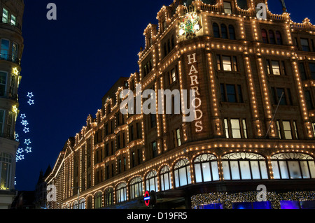 Christmas Lights at Harrods, Knightsbridge, London 2012 - Stock Photo