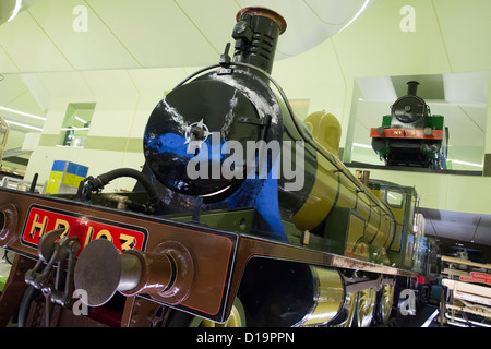 Steam locomotives on display at new transport museum at Riverside Museum in Glasgow; Architect Zaha Hadid - Stock Photo