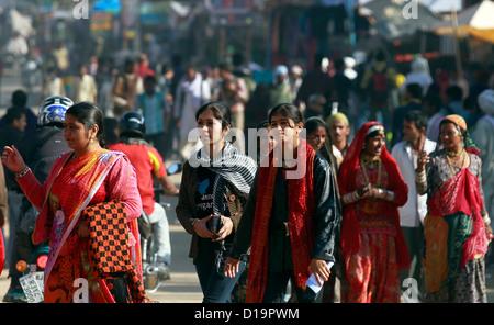 People at the Pushkar camel fair Rajasthan, India.