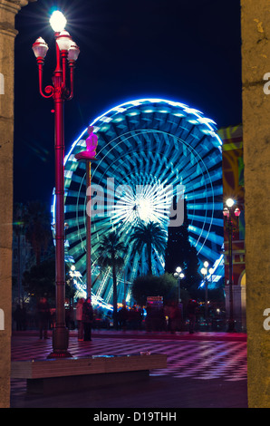 The ferris wheel at the annual Christmas market in Nice on the Cote d Azur France France - Stock Photo