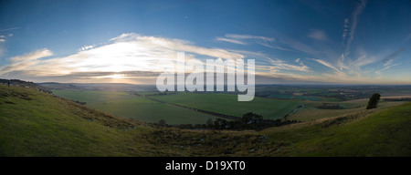 Panoramic sunset view from Ivinghoe Beacon at the end of The Ridgeway National Trail, Buckinghamshire, UK - Stock Photo