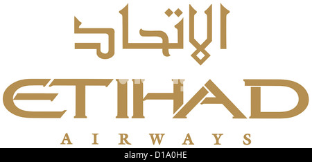 Logo of the Arabian airline company Etihad Airways with seat in Abu Dhabi.