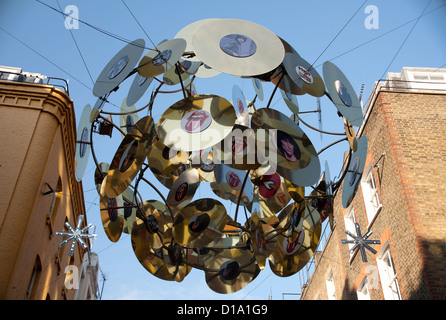 Christmas Street Decorations, Carnaby Street, London, England, United Kingdom, Europe - Stock Photo