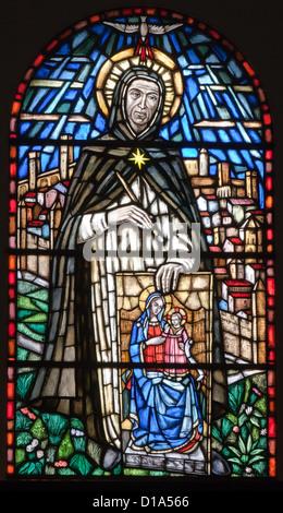 ROME - MARCH 23: St. Simon Stock from windowpane at in church Santa Maria sopra Minerva on March 23, 2012 in Rome. - Stock Photo