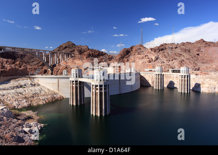 Hoover Dam and Lake Mead on the Colorado River in Nevada, USA. - Stock Photo