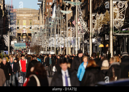 Christmas shoppers on Buchanan Street Shopping Precinct in Glasgow city centre, Scotland, UK - Stock Photo