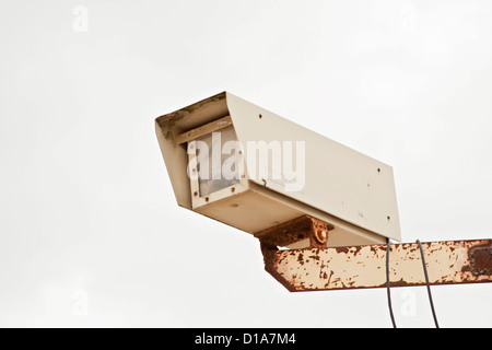 CCTV security camera used for outdoor industrial security surveillance - Stock Photo