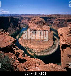 Colorado River at Horseshoe Bend, near Page, Arizona, USA - Glen Canyon National Recreation Area - Stock Photo
