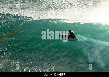Surfer riding a wave, Maui, Hawaii - Stock Photo